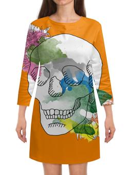 """Платье с рукавами """"Череп Акварель"""" - череп, цветы, рисунок, кляксы, акварель"""