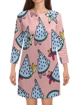 """Платье с рукавами """"Арбуз"""" - еда, фрукты, ягоды, сладости, арбуз"""