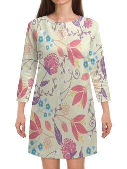 """Платье с рукавами """"Весенние цветочки"""" - цветы, узор, листья, весна, цветочки"""