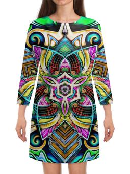 """Платье с рукавами """"Mandala HD 4"""" - узор, ретро, классика, этно, симметрия"""