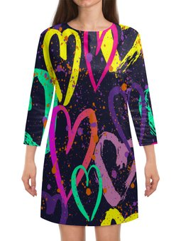 """Платье с рукавами """"Сердечки"""" - сердце, любовь, узор, сердечки, день валентина"""