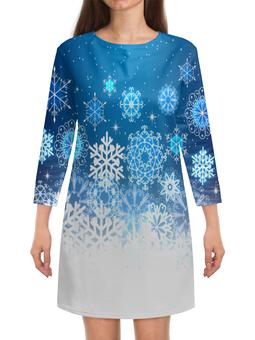 """Платье с рукавами """"Узор зимний"""" - новый год, узор, зима, снег, снежинки"""