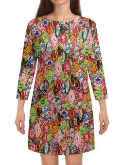 """Платье с рукавами """"Поп-арт"""" - комиксы, взрыв, поп-арт, мульт, бомба"""