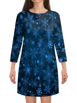 """Платье с рукавами """"Морозный узор"""" - новый год, зима, снежинки, мороз, снег"""