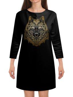 """Платье с рукавами """"Голова волка"""" - животное, волк"""