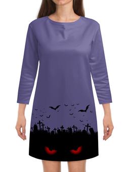 "Платье с рукавами ""Взгляд оттуда"" - рисунок, хэллоуин, летучие мыши, кладбище, взгляд"