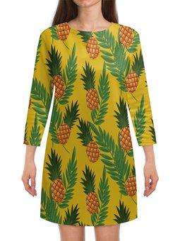 """Платье с рукавами """"Ананасы"""" - лето, еда, фрукты, тропики, ананасы"""