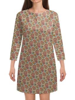 """Платье с рукавами """"Пейсли (Народные мотивы)"""" - лепестки, цветы, узор, пейсли, лепесток"""