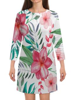 """Платье с рукавами """"Цветы"""" - цветы, листья, лес, природа, букет"""