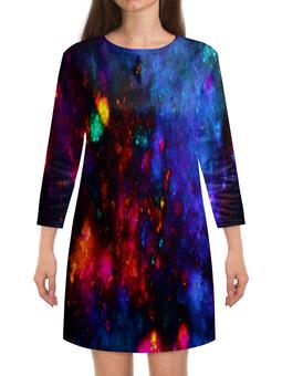 """Платье с рукавами """"Яркие пятна"""" - космос, пятна, синий, краски, цветные"""