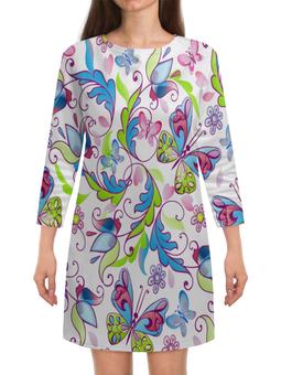 """Платье с рукавами """"Цветы и бабочки"""" - бабочки, цветы, узор, листья, весна"""