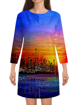 """Платье с рукавами """"Город"""" - город, здания, мегаполис, краски, вода"""
