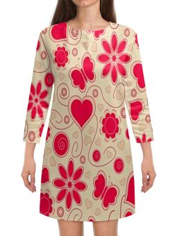 """Платье с рукавами """"Бабочки и цветы"""" - сердце, бабочки, цветы, узор, весна"""