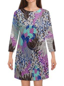 """Платье с рукавами """"Узор листьев"""" - узор, листья, весна, природа, листва"""