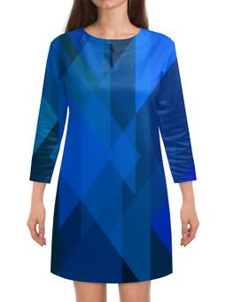 """Платье с рукавами """"Синий абстрактный"""" - графика, синий, краски, абстракция, треугольники"""