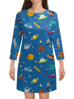 """Платье с рукавами """"The Spaceway"""" - звезды, космос, вселенная, одежда космос, платье космос"""