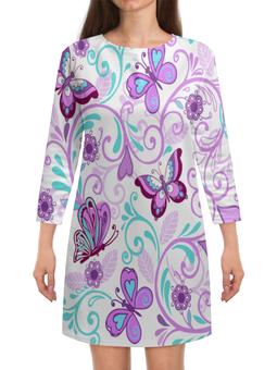 """Платье с рукавами """"Цветные бабочки"""" - бабочки, цветы, узор, весна, природа"""