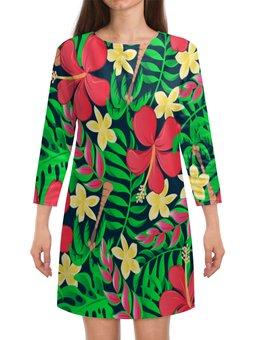 """Платье с рукавами """"Тропические цветы"""" - цветы, листья, природа, цветочки, тропики"""
