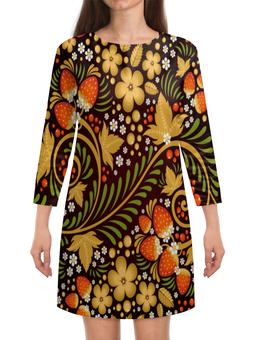"""Платье с рукавами """"Ягоды"""" - цветы, узор, лес, ягоды, клубника"""