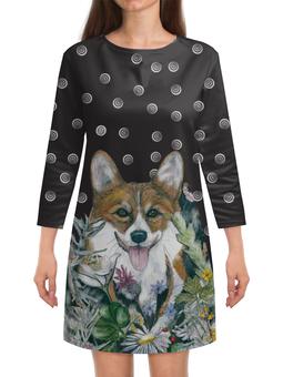 """Платье с рукавами """"Летняя ночь"""" - собака, рыжий, новыйгод, корги, вельшкорги"""