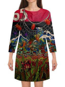 """Платье с рукавами """"Рождение и смерть лосося"""" - сахалин, sakhalin, лосось, рыбалка, рыба"""