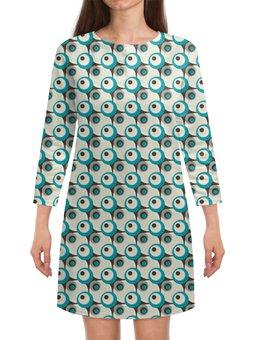 """Платье с рукавами """"Круги"""" - серый, белый, черный, голубой, круг"""