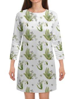 """Платье с рукавами """"букетики ландышей"""" - цветы, весна, лес, белые, ландыши"""