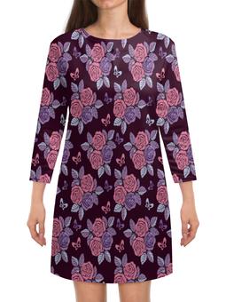"""Платье с рукавами """"Букеты роз"""" - бабочки, цветы, роза, розы, букет"""