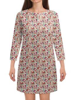 """Платье с рукавами """"Пейсли (Яркий)"""" - цветы, цветок, лепестки, лепесток, пейсли"""