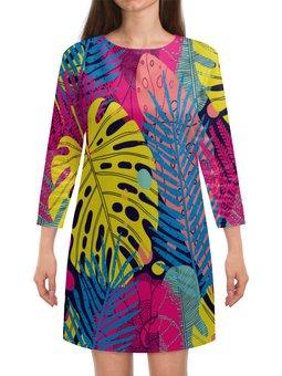 """Платье с рукавами """"Узор листьев"""" - узор, листья, природа, листва, листы"""