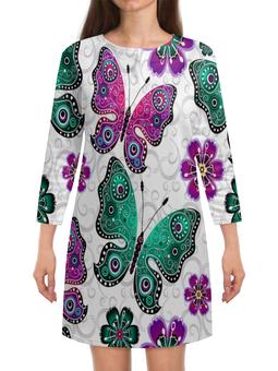 """Платье с рукавами """"Цветные бабочки"""" - бабочка, бабочки, крылья, узор, насекомые"""