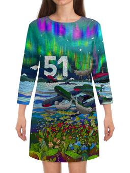 """Платье с рукавами """"Мурманск"""" - северное сияние, мурманск, тюлень, морошка, 51 регион"""