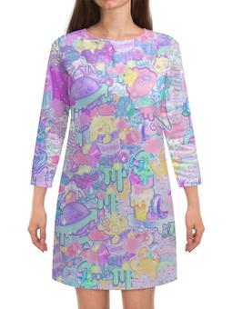 """Платье с рукавами """"Привет от Тумблера 2"""" - звезда, единорог, тумблер, попкорн"""