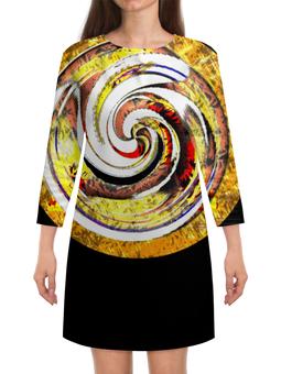 """Платье с рукавами """"Золотая спираль. Абстракция"""" - оригинальный, желтый, круглый, паттерн, геометрический"""