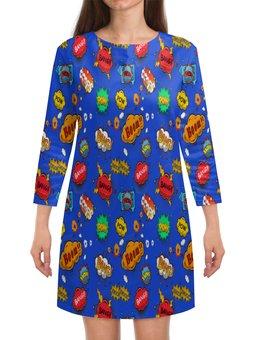 """Платье с рукавами """"Boom!"""" - надписи, взрыв, поп-арт, мульт, бомба"""
