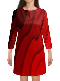 """Платье с рукавами """"Красные волны"""" - красный, полосы, волны, текстура, линии"""