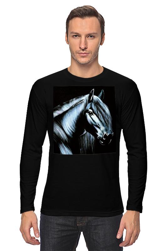 Лонгслив Printio Лошадь на черном бархате