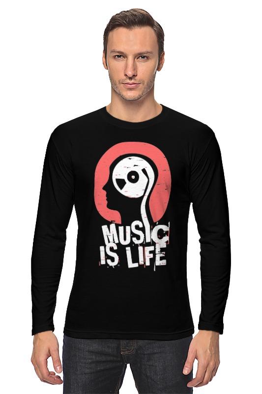 Лонгслив Printio Музыка это жизнь музыка