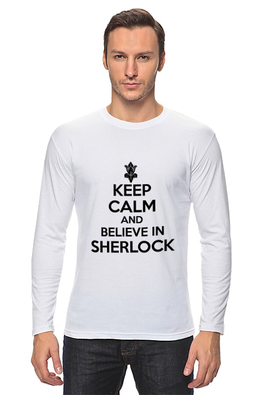 Лонгслив Printio Keep calm and believe in sherlock holmes a christmas carol and other stories
