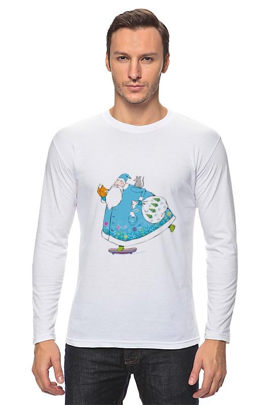 Лонгслив Printio Дед мороз на скейте ostin футболка с новогодним принтом