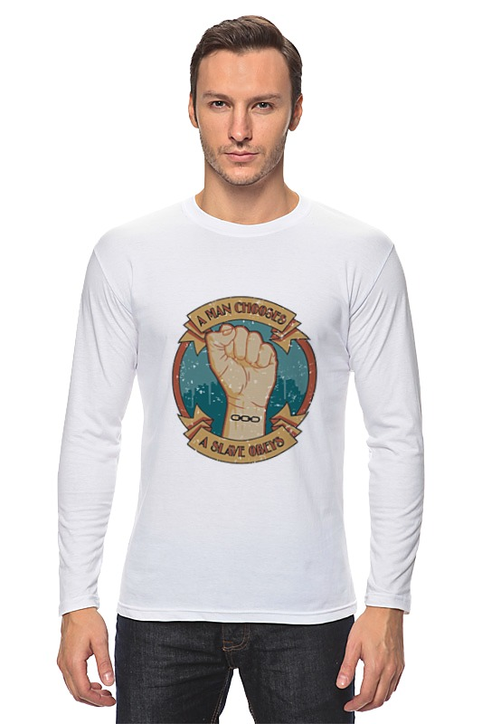 Лонгслив Printio A man chooses, a slave obeys [fist] a rising man