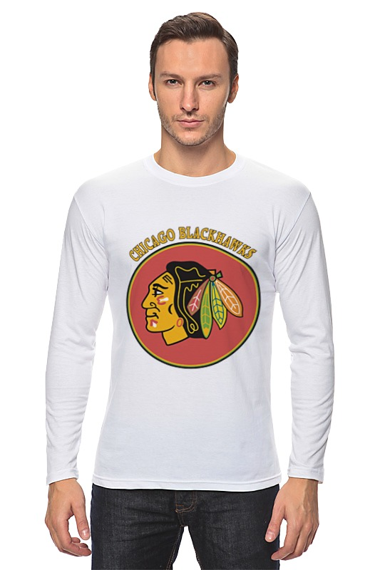 Лонгслив Printio Чикаго блэкхокс футболка print bar chicago blackhawks
