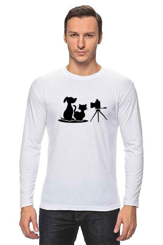 Лонгслив Printio Пёс и кот лагунов к я белый пёс синий хвост