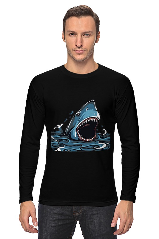 Лонгслив Printio Акула серова м клад белой акулы