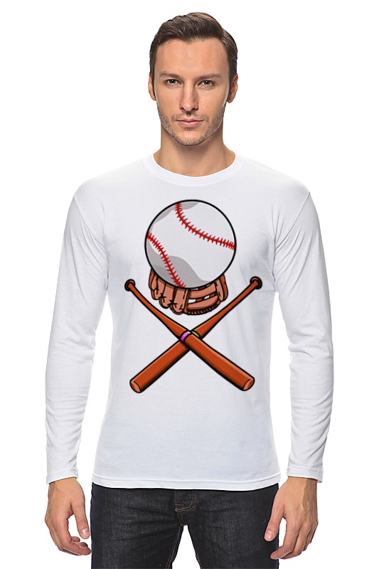Лонгслив Printio Биты и мяч (бейсбол)