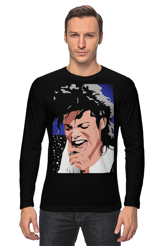Лонгслив Printio Michael jackson michael jackson black and white cover gold black l