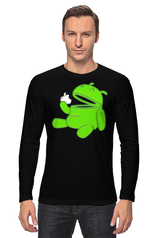 Лонгслив Printio Android eats apple толстовка wearcraft premium унисекс printio android eats apple