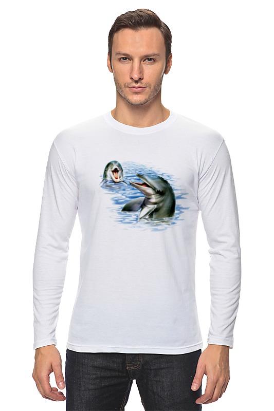Лонгслив Printio Дельфины наклейка для интерьера дельфины