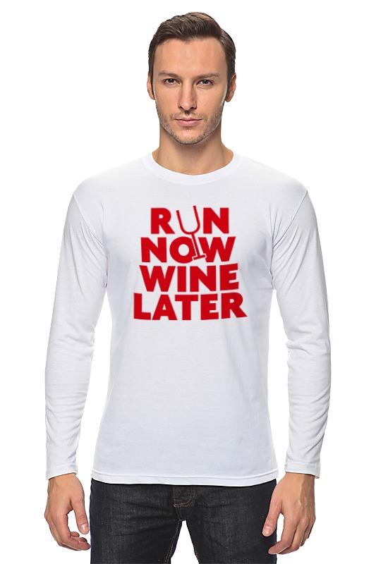 Лонгслив Printio Бегай сейчас, вино потом! вино pourers акрил стекло вино аксессуары высокое качество творческийforbarware см 0 022 кг 1шт