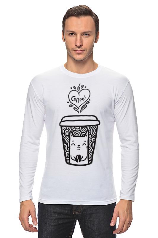 Лонгслив Printio Кофе и котик цена и фото